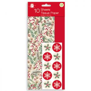 Foliage and Red Tissue Paper - 10 Sheets