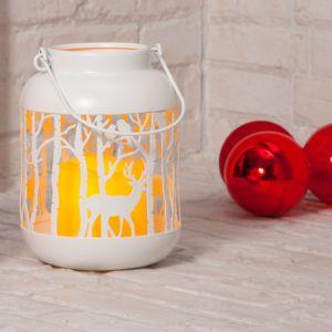 Noma Stag Scene LED Lit Lantern, White - 18cm