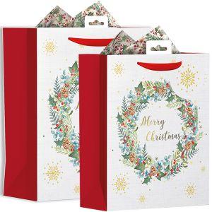 Red & White Foliage Gift Bag
