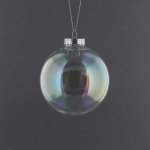Festive Iridescent Glastic Ball Bauble - 10cm