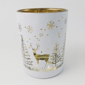 Reindeer in a Forest Votive, White and Champagne - 12.5cm