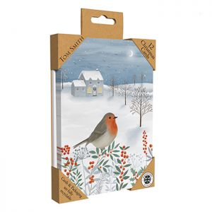 Tom Smith Luxury Robin Christmas Cards - 12 Pack