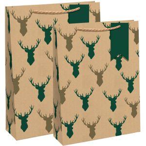 Kraft Stag Heads Gift Bag