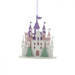 Festive Wooden Princess Castle Decoration - 16cm