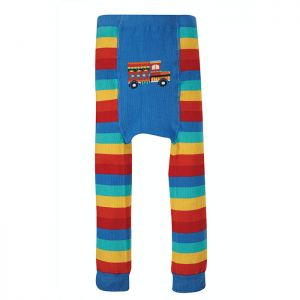 Frugi Baby Little Knitted Leggings – Rainbow / Truck
