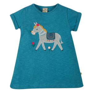 Frugi Baby Ariella Applique Top – Sea Blue/Donkey