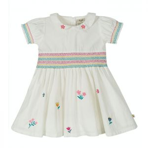 Frugi Baby Posy Embroidered Dress - Soft White/Flowers