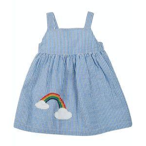 Frugi Baby Alma Summer Dress – Cobalt Stripe/Rainbow