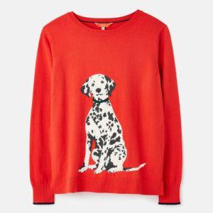 Joules Women's Miranda Knitted Crew Neck Jumper – Red Dalmatian