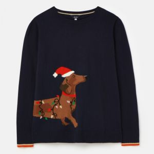 Joules Women's Festive Knitted Crew Neck Jumper – Navy Dog