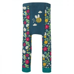 Frugi Baby Little Knitted Leggings – Flowers / Bee