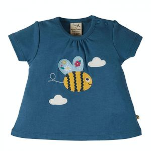 Frugi Baby Amber Applique Top – India Ink / Bee