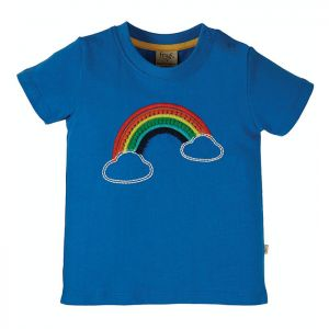 Frugi Baby Avery Applique Top – Cobalt / Rainbow