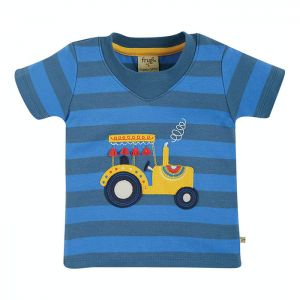 Frugi Baby Easy On Tee – Blue Stripe / Tractor