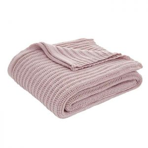 Catherine Lansfield Chunky Knit Throw – Blush