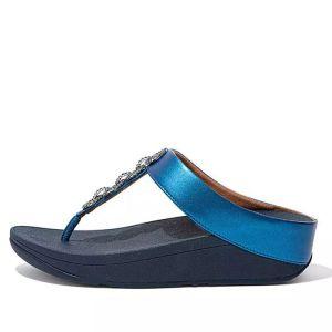 FitFlop Women's Fino Sparkle Toe-Post Sandals – Sea Blue