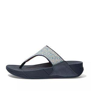 FitFlop Women's Lulu Shimmer Toe-Post Wide Sandals – Midnight Navy