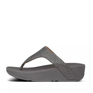 FitFlop Women's Lottie Shimmercrystal Toe-Post Sandals – Pewter