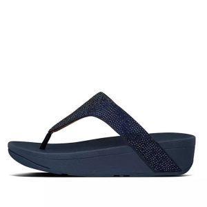 FitFlop Women's Lottie Shimmercrystal Toe-Post Sandals – Midnight Navy