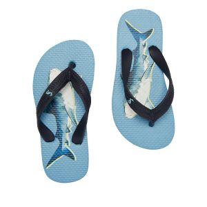 Joules Children's Flip Flops – Mid Blue Shark