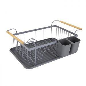 Tower Scandi Dish Rack with Wooden Handles – Grey