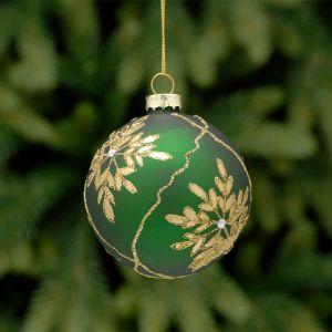 Festive Leaf Design Bauble, 8cm - Green & Gold