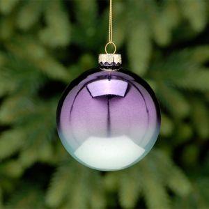 Festive Glass Bauble, 8cm – Purple Ombre