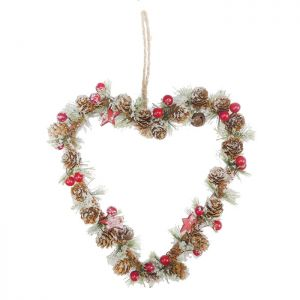 Cone and Berry Frosted Heart Wreath – 23cm