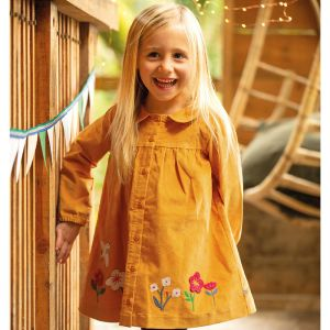 Frugi Baby Coco Cord Dress - Gold