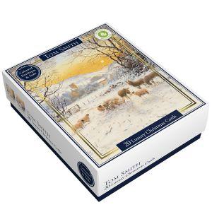 Tom Smith Luxury Sunset Sheep Christmas Cards - 20 Pack