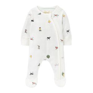 Joules Baby Cotton Zip Babygrow – White Farm Print