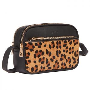 Joules Women's Farley Leather Cross Body Bag - Leopard