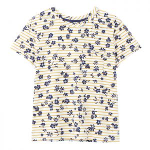 Joules Women's Sofi Pocket T-shirt – Cream / Gold Floral Stripe