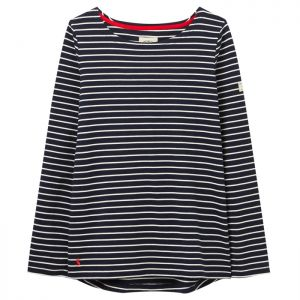 Joules Women's Harbour Jersey Top – Navy / Cream Stripe
