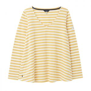Joules Women's Harbour Jersey Top – Mustard Stripe