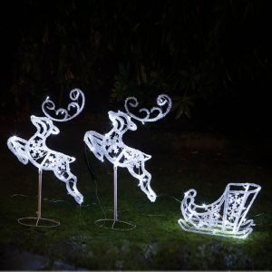 Noma Outdoor Flying Reindeer and Sleigh LED Light Figure - 96cm