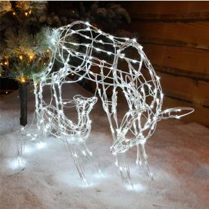 NOMA Mother and Baby Reindeer LED Light Figure - 70cm