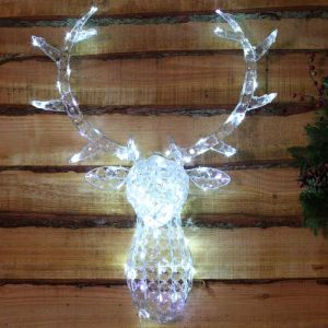 NOMA 85cm Jewelled Stag Head LED Light Decoration – White