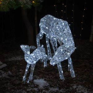 NOMA 70cm Jewelled Mother and Baby Reindeer LED Light Figure – White