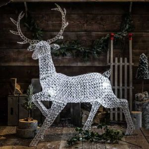 NOMA LED Northern Lights Jewelled Stag Figure, White – 1.4m