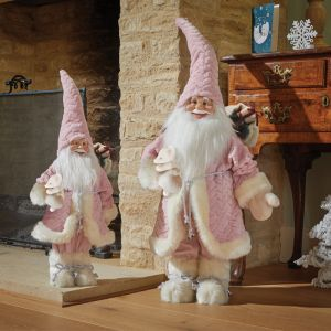 Three Kings Papa Noel Plush Santa Decoration, 46cm - Pink