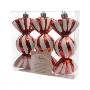 Kaemingk Glitter Candy Baubles - 3 Pack