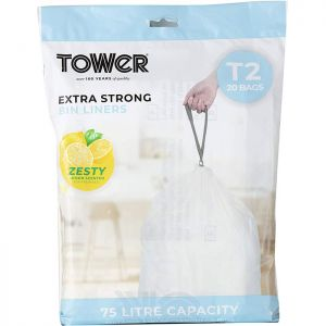 Tower Lemon Scented Bin Liners 75 Litres – 20 Pack