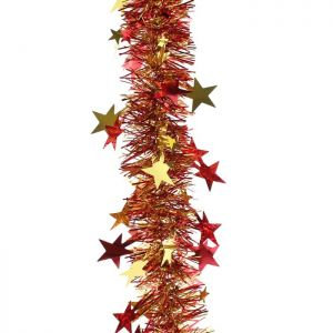 Festive Star Tinsel, 2m - Red and Gold
