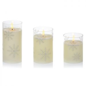 Premier Flickabrights Snowflake Glass Candle - Set of 3