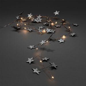 Konstsmide Wooden Star Lights, Warm White - 1.9m