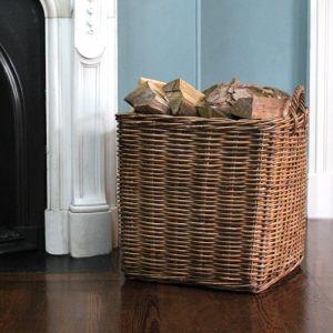 Large Square Wicker Log Basket - Brown