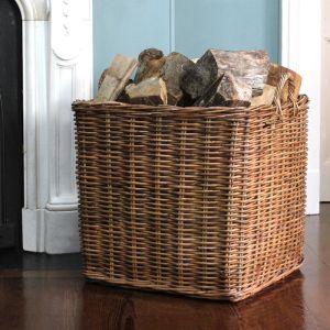 Extra Large Square Wicker Log Basket - Brown