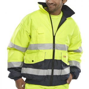 B-Seen Europa Hi-Vis Bomber Jacket - Yellow