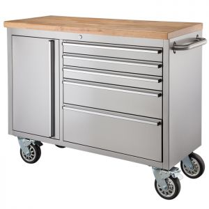 """38"""" Stainless Steel 5 Drawer Tool Cabinet & Workbench"""